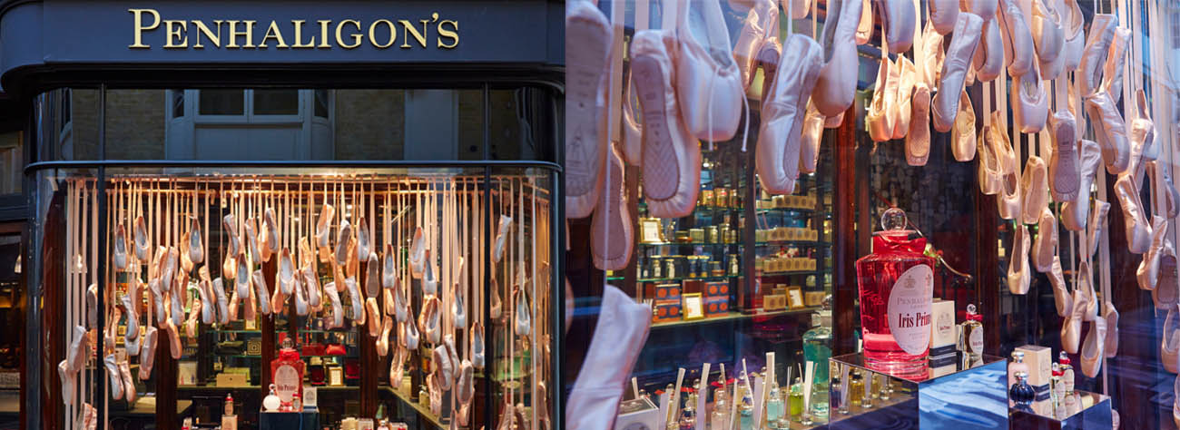 Image showing the Penhaligon's store and the interior window frame, featuring over 3000 ballet shoes sourced and arranged by Prop Studios