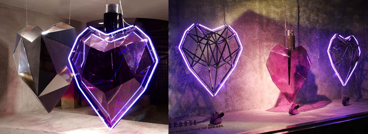 Full image of the five translucent heart sculptures designed for Diesel by Prop Studios