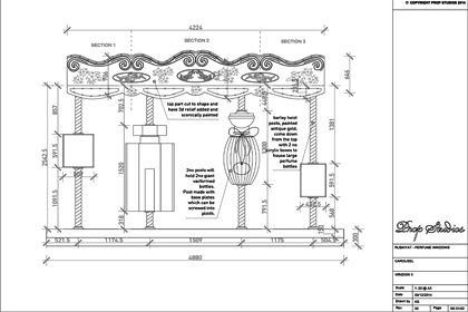 Original technical sketch by Prop Studios, showing the design of the Al Rubaiyat carousel