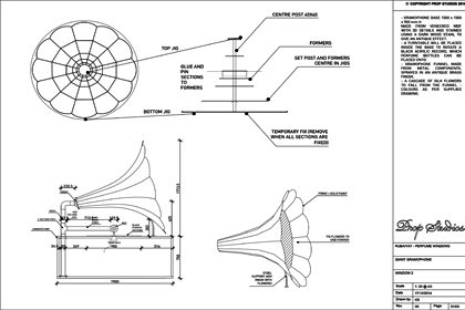 Technical sketch created by Prop Studios to show how the gramophone would be designed