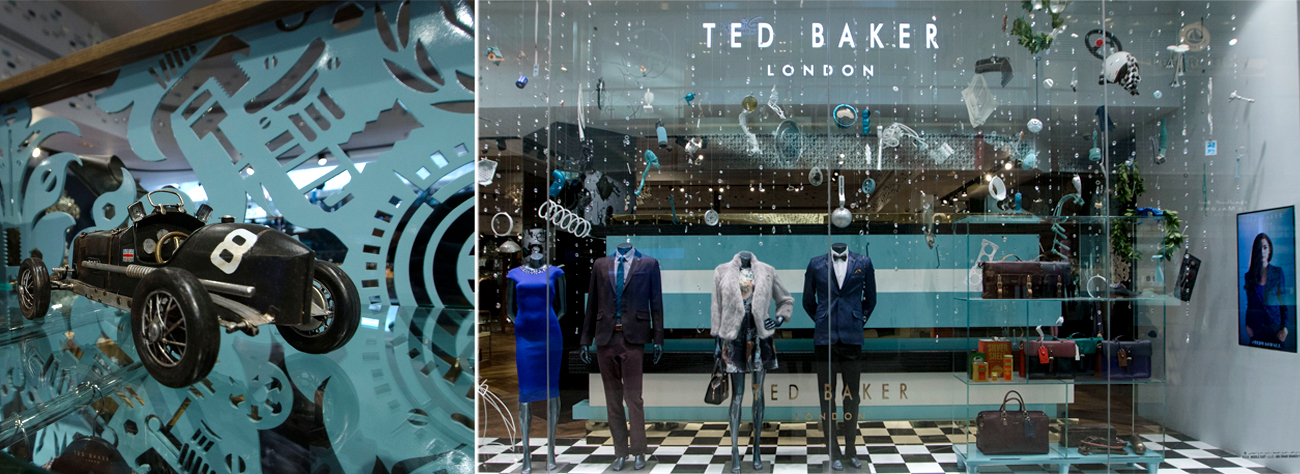 Photo showing exterior and close-up detail of Ted Baker window at Yas Mall