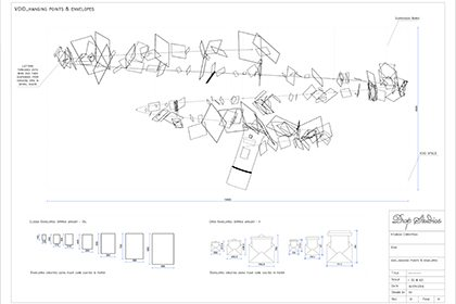 Technical sketch showing the hanging display of letters to Santa, which was designed, created and installed within Hyundai by Prop Studios
