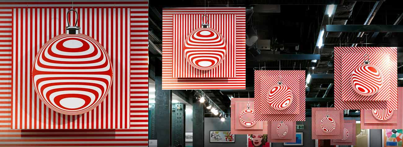 The instore display was based around the image of Christmas baubles, using a festive red and white colour scheme