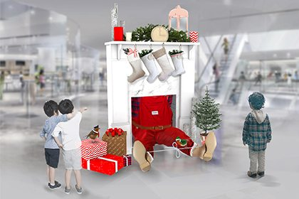 Computer design created by Prop Studios to show the design and scale of an installation featuring Santa getting stuck in the chimney