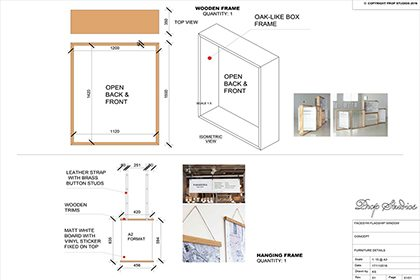 Technical designs for Prop Studios' window display at Facegym's flagship store