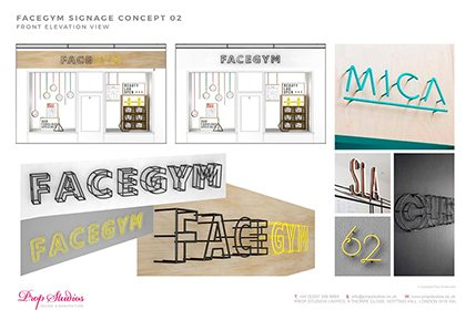 Prop Studios' initial signage concepts for the Facegym flagship store's window display