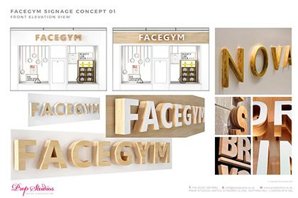 Further signage concepts for the Facegym window display