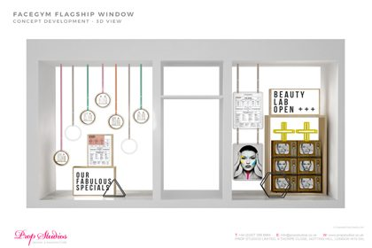 Concept development technical sketch of the Facegym flagship store's window display