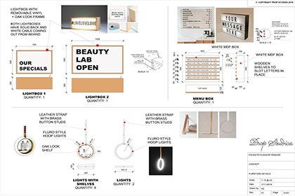 Technical blueprints for the components of the Facegym window display