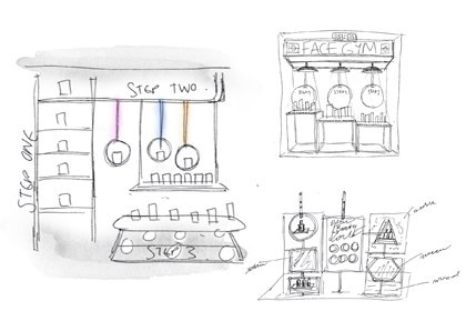Technical sketches for Prop Studios' window display design for Facegym