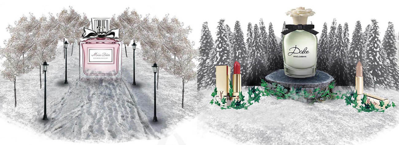 Prop Studios' 3D render designs for two interiors of the Harrods snowglobes