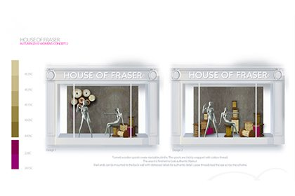 Technical design of two windows within Prop Studios' overall scheme for House Of Fraser