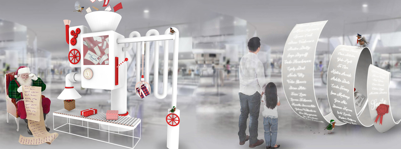 Prop Studios' rendering of the retail design concept for Hyundai Department Store, based on the theme of Santa's Workshop