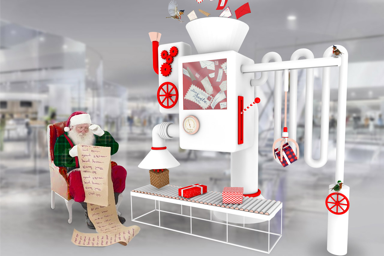 Image showing the design concept for the Santa's Workshop experience created by Prop Studios for Hyundai