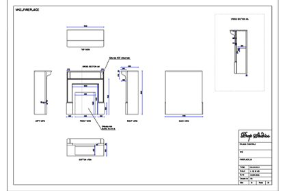 Prop Studios' technical drawing showing the design and construction of the bespoke instore fireplace for Hyundai
