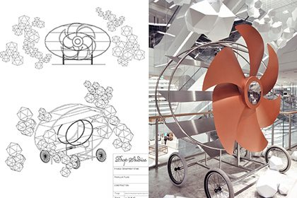 Prop Studios' original technical drawings showing the design of the rose gold propeller installation for Hyundai