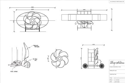 Design sketch for the giant rose gold propeller, created for Hyundai exclusively by Prop Studios