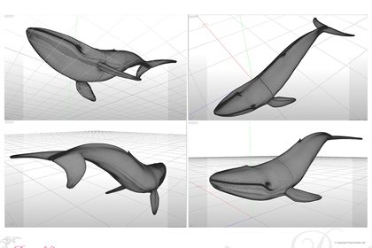 Digital rendering of the leather whale sculpture, created exclusively for Hyundai by Prop Studios