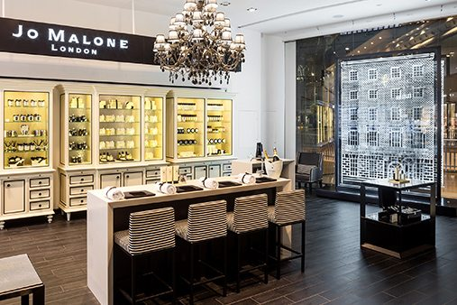 Interior of the Jo Malone concession at Selfridges with window design in view
