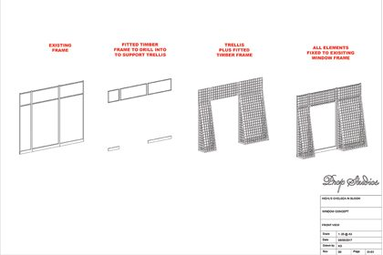 Technical blueprint by Prop Studios showing how the retail display would be put together in the Kiehl's store