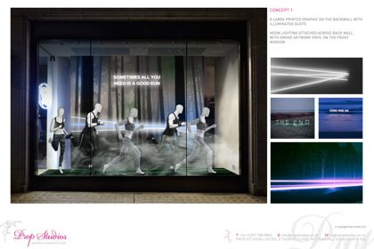 Prop Studios' initial concept for the Lululemon display, alongside a photograph of the window
