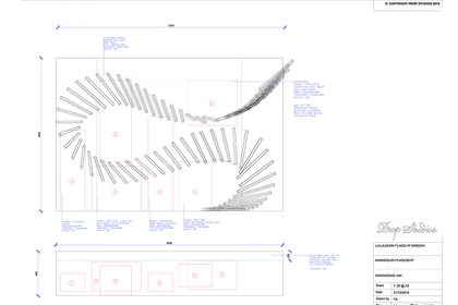 Technical sketch of the design for the batons in the Lululemon window