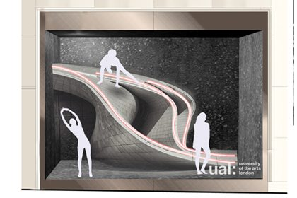 Initial design sketch showing Prop Studios' the design concept for one of the Lululemon windows