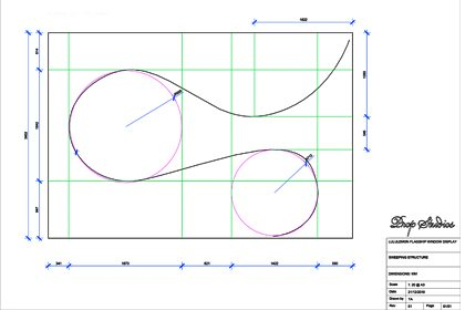 Graphic design sketch showing how the batons in the display would be laid out within the Lululemon window display