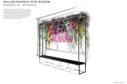 Prop Studios' original concept design of the Miller Harris window design