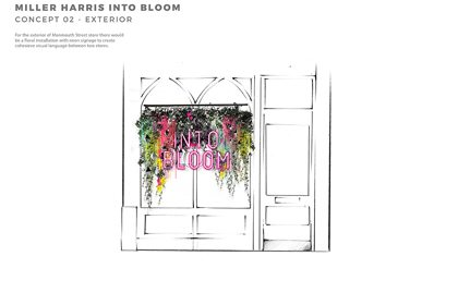 Alternate close-up of Miller Harris window, with Covent Garden In Bloom sign