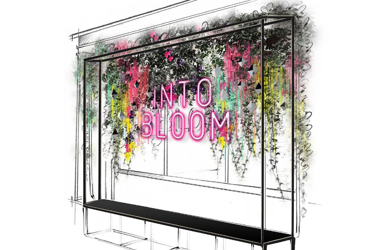 Prop Studios hand-sketched rendering of the Miller Harris front window, highlighting the neon signage and hanging neon floral displays