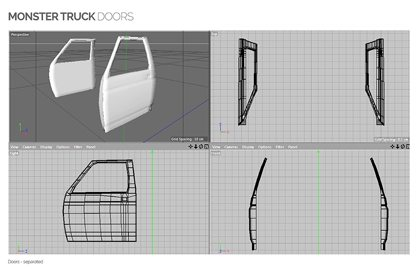 Prop Studios' computer-designed images of the construction and placement for the doors of the monster truck
