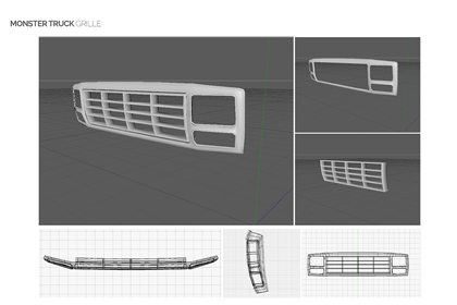This image shows the design of the monster truck's grille