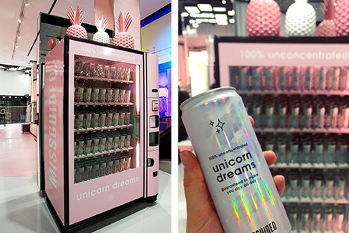 Prop Studios' impactful scheme of shareable moments continues throughout Missguided's Westfield Stratford store, with a bespoke vending machine dispensing 'Unicorn Dreams'