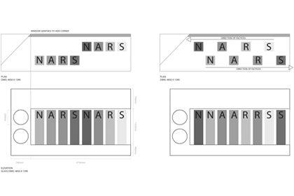 Prop Studios' initial technical design sketch for NARS window display