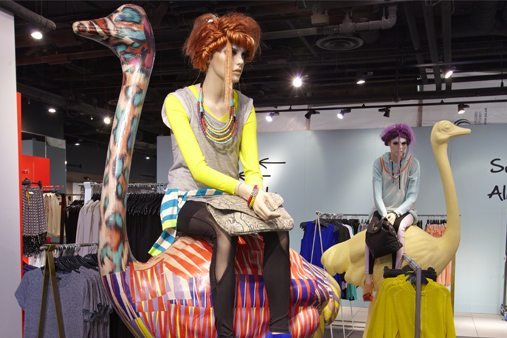 The ostriches were made in fibreglass by Prop Studios and some were sprayed in hot gloss neon colours and matt pastels