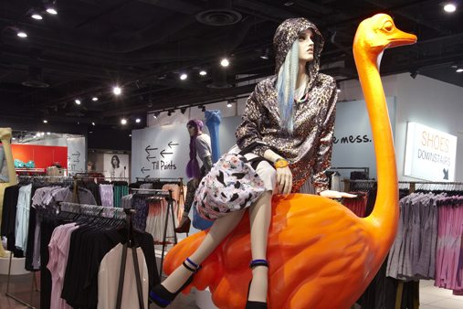 The ostrich sculptures constructed by Prop Studios were prominently displayed across Topshop stores