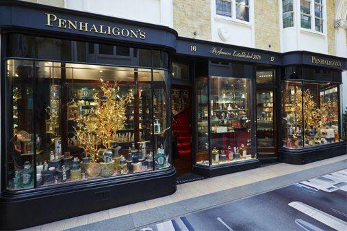 Exterior photograph of the Penhaligon's store, showing Prop Studios'