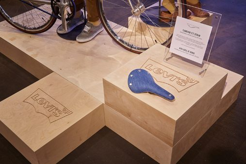 Prop Studios designed bespoke plywood plinths in an assortment of sizes, to showcase biking accessories and mannequins wearing Levi's new clothing range