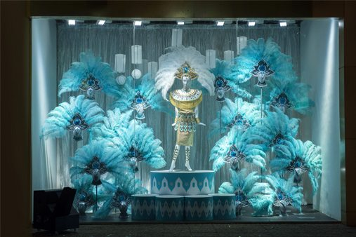 Full shot of one of the carnival-themed windows, designed by Prop Studios for Al Rubaiyat