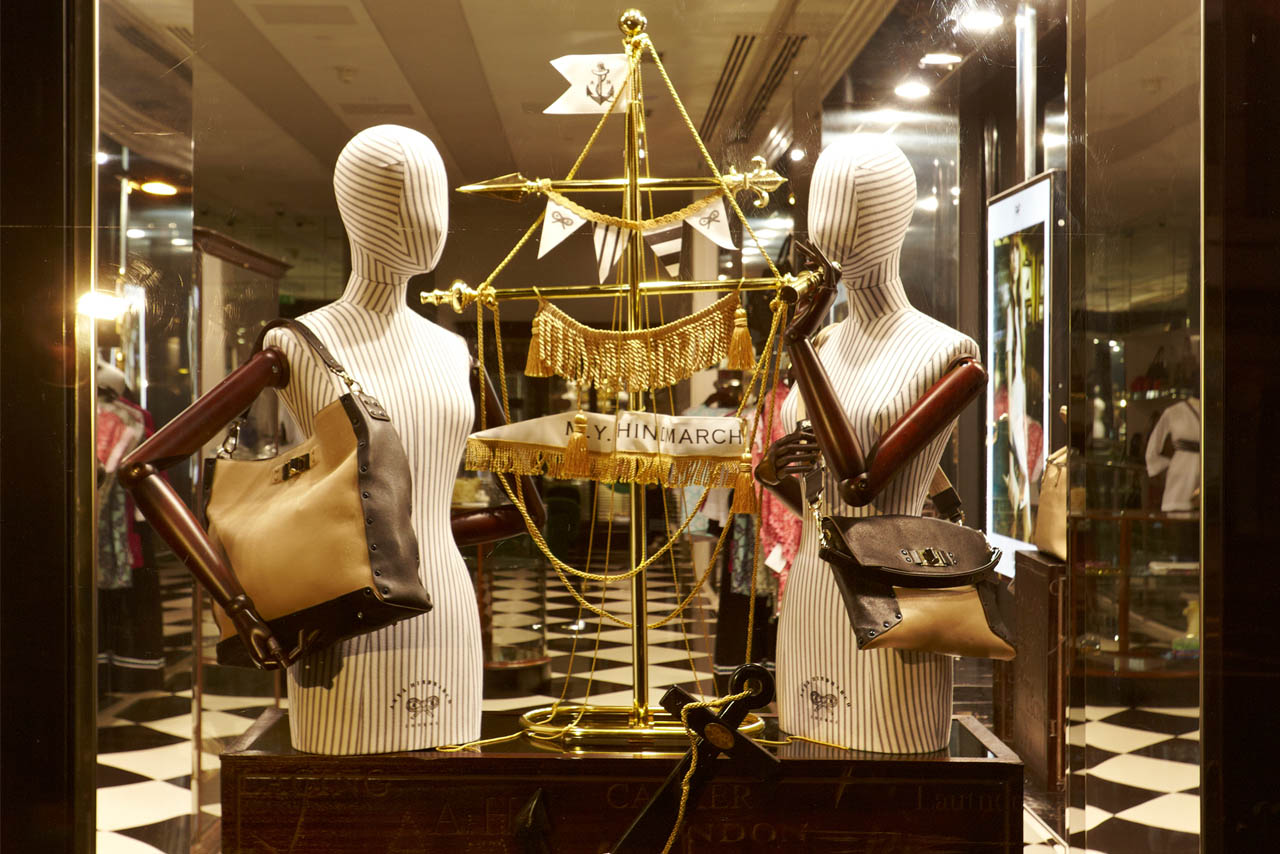 Exterior shot showing the nautical-themed window display created by Prop Studios for Anya Hindmarch