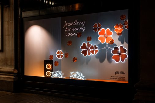 Full exterior shot of Prop Studios' window design for Folli Follie