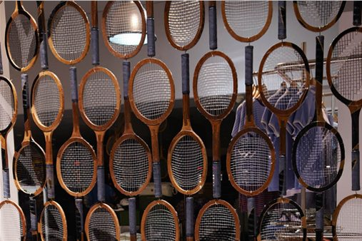Each of the 800 racquets was hand-painted for the window display by Prop Studios to depict the Fred Perry logo