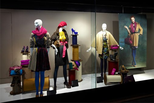 House Of Fraser window display showcasing mannequins and fabrics designed by Prop Studios