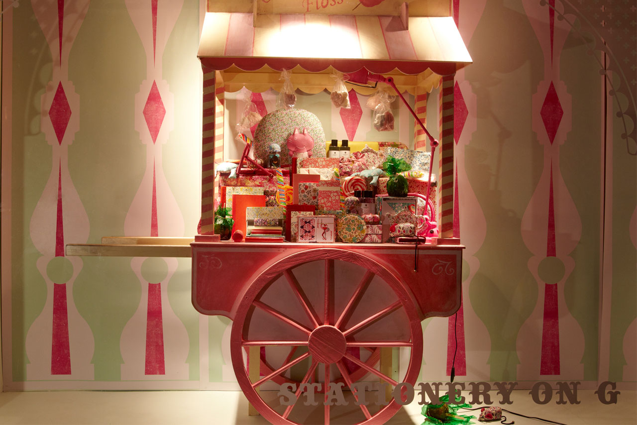 Close-up shot of Prop Studios' custom-designed candyfloss cart for the Liberty fairground window scheme