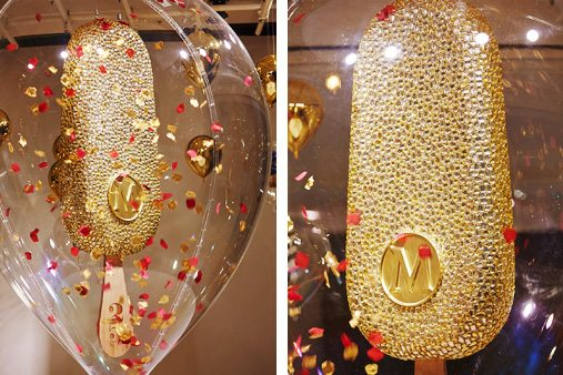 Two images of the gold, jewelled Magnum bar, designed by Prop Studios for Selfridges