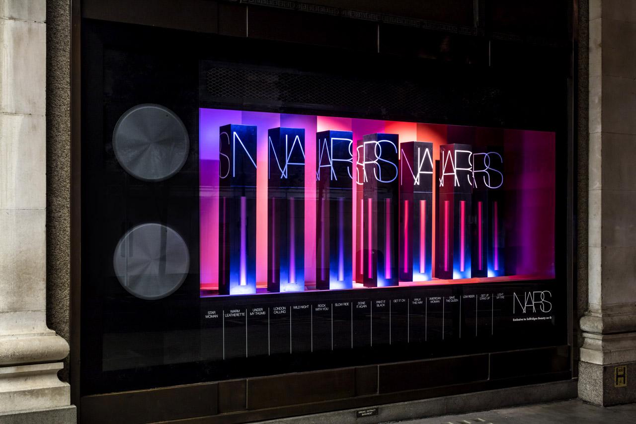Exterior photo of Prop Studios' NARS window display at Selfridges