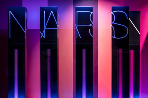 Close-up shot of the NARS window display