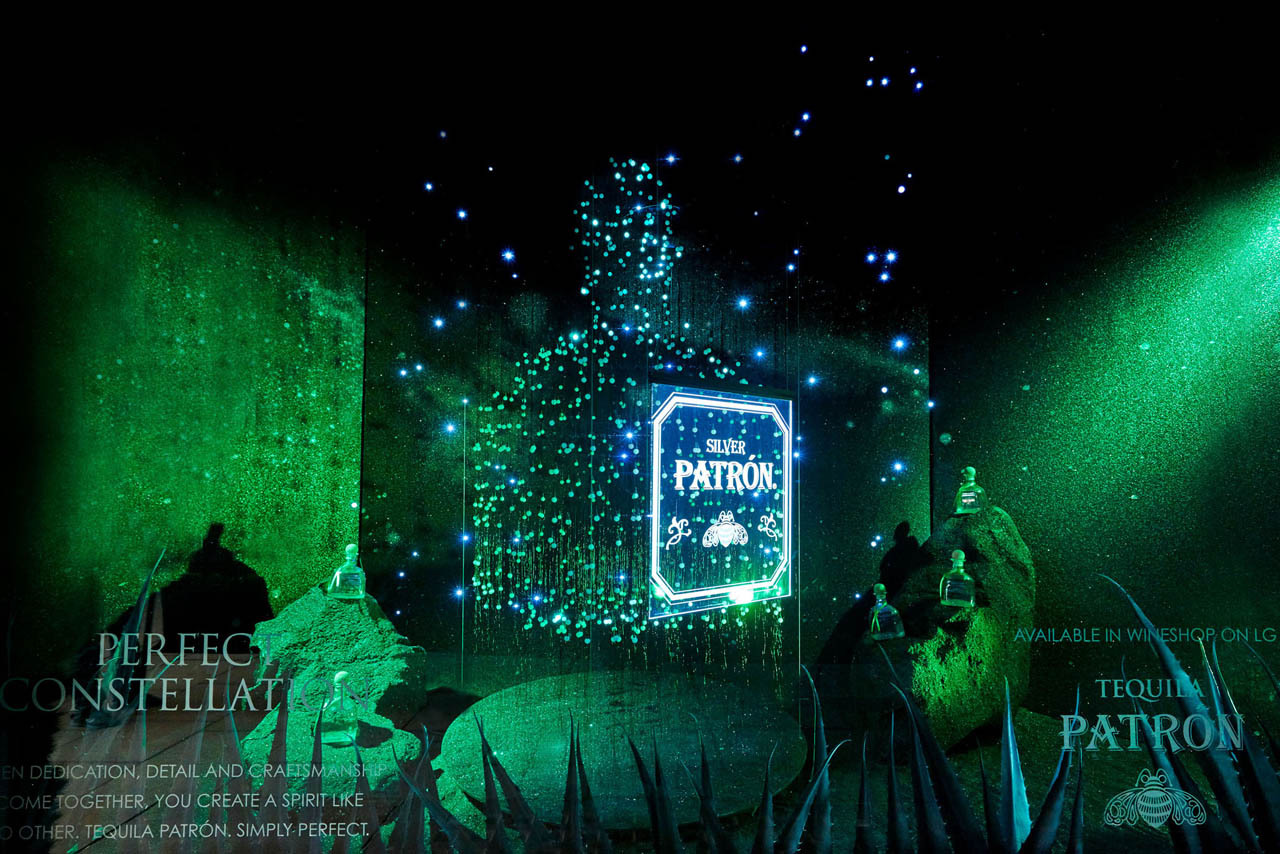 Full size photograph of the Patron Christmas window display at Selfridges, as designed by Prop Studios