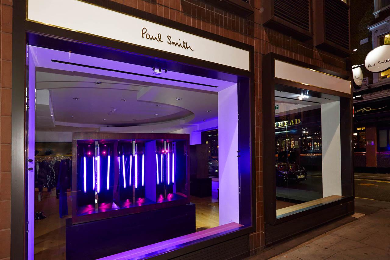 Exterior shot of the Paul Smith store, showing the neon lighting display created exclusively by Prop Studios